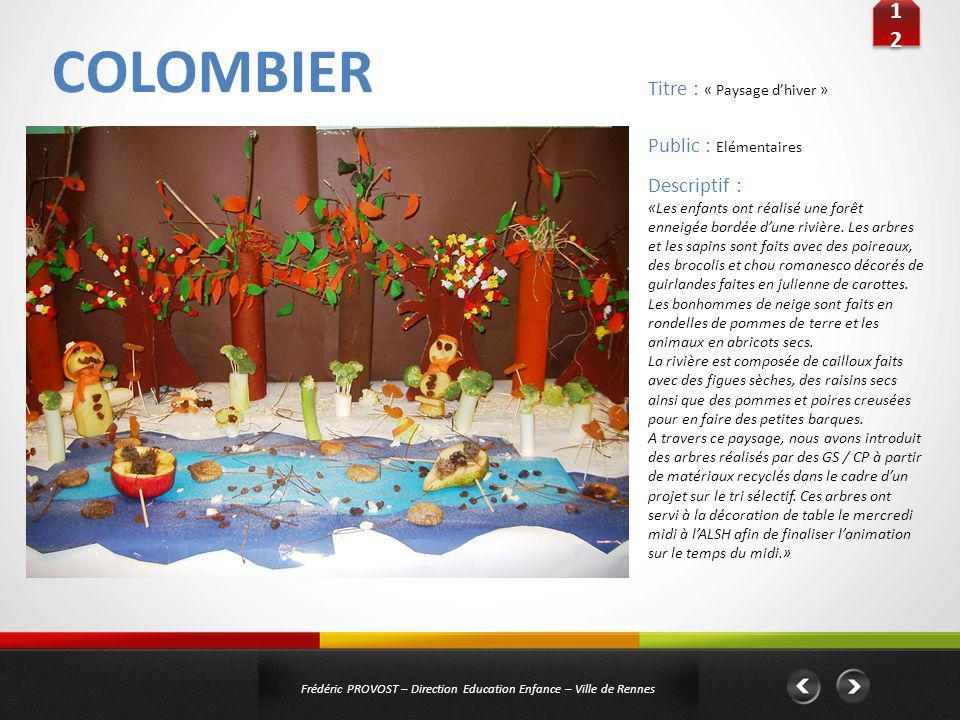 COLOMBIER 12 Titre : « Paysage d'hiver » Public : Elémentaires
