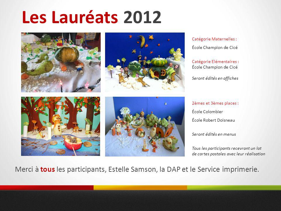 Les Lauréats 2012 Catégorie Maternelles : École Champion de Cicé. Catégorie Elémentaires : Seront édités en affiches.