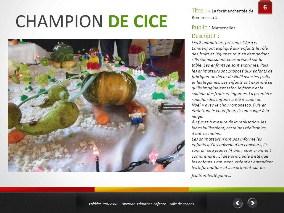 CHAMPION DE CICE 6 Titre : « La forêt enchantée de Romanesco »