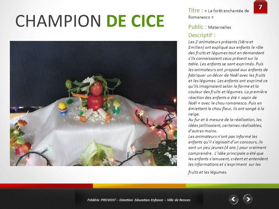 CHAMPION DE CICE 7 Titre : « La forêt enchantée de Romanesco »