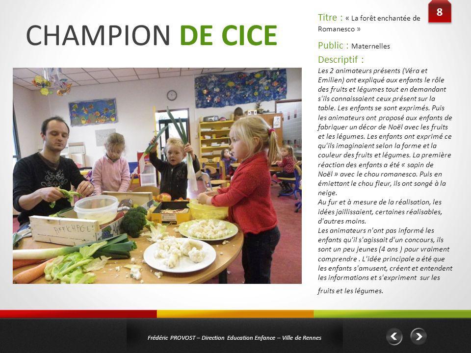 CHAMPION DE CICE 8 Titre : « La forêt enchantée de Romanesco »