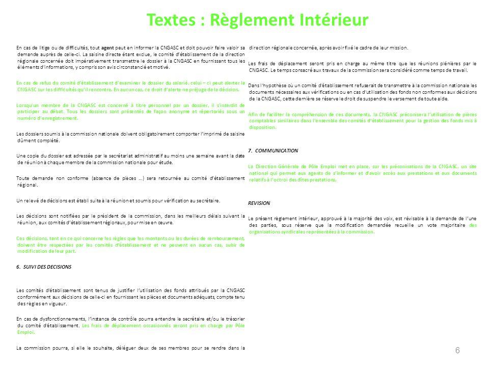 Textes : Règlement Intérieur