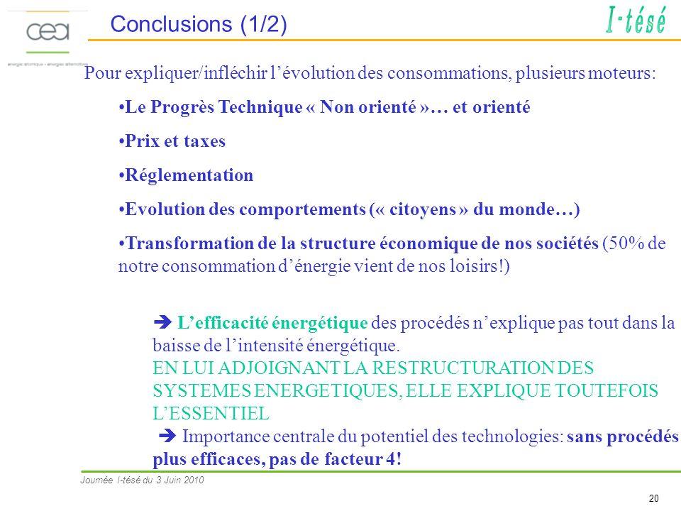 Conclusions (1/2) Pour expliquer/infléchir l'évolution des consommations, plusieurs moteurs: Le Progrès Technique « Non orienté »… et orienté.