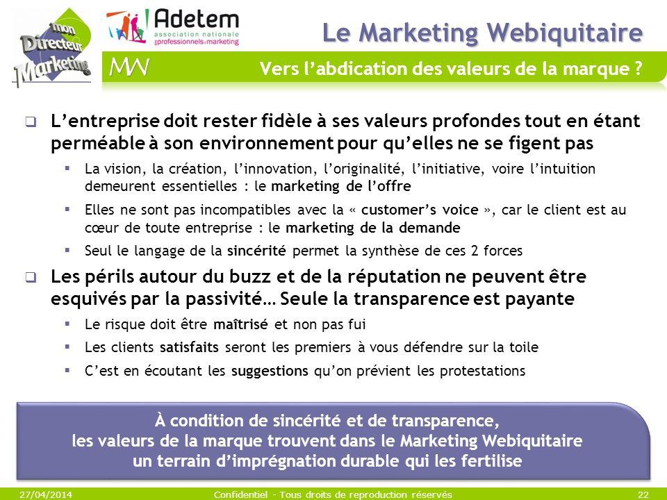 Le Marketing Webiquitaire Vers l'abdication des valeurs de la marque