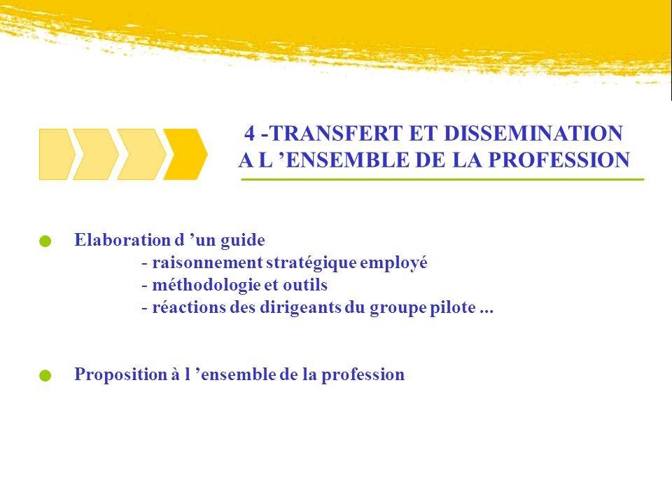 4 -TRANSFERT ET DISSEMINATION A L 'ENSEMBLE DE LA PROFESSION