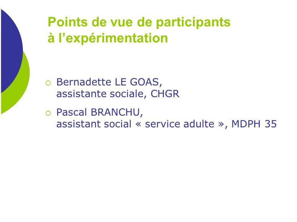 Points de vue de participants à l'expérimentation