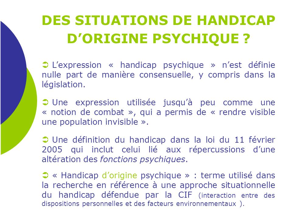 DES SITUATIONS DE HANDICAP