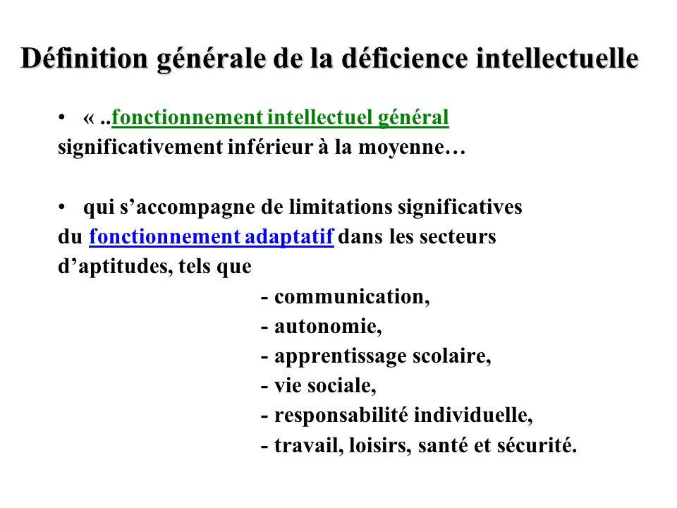 Définition générale de la déficience intellectuelle