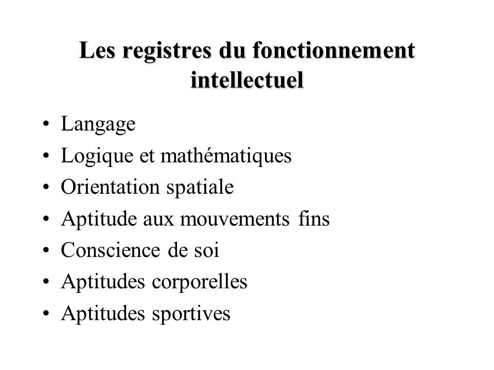 Les registres du fonctionnement intellectuel