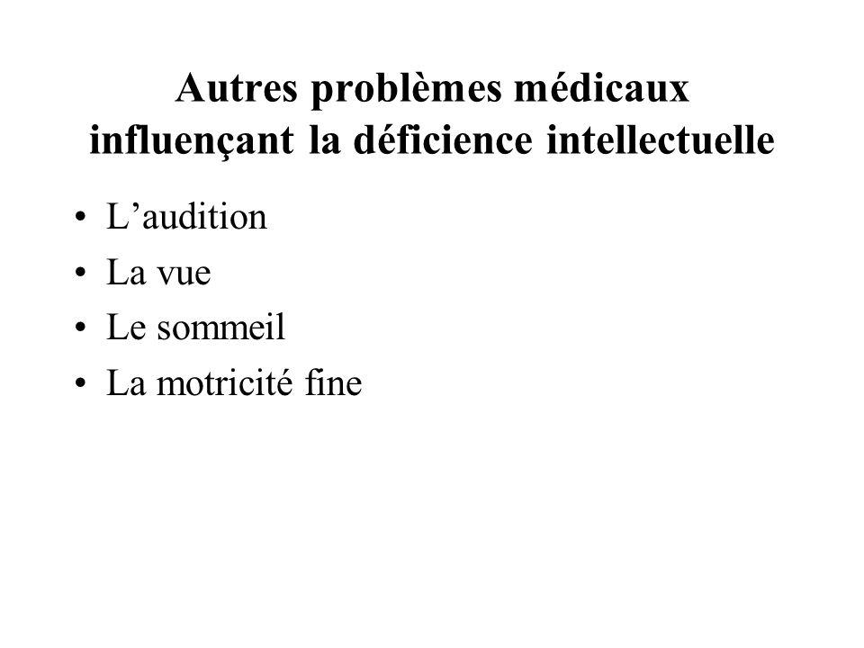 Autres problèmes médicaux influençant la déficience intellectuelle