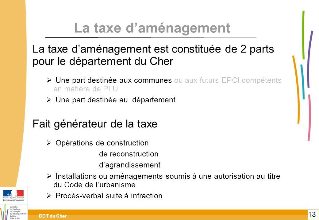 toitototototoot toitototototoot. La taxe d'aménagement. La taxe d'aménagement est constituée de 2 parts pour le département du Cher.
