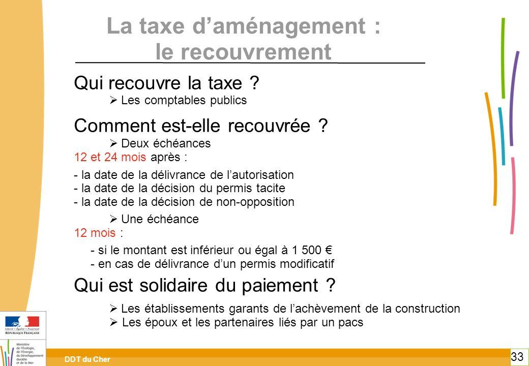 La taxe d'aménagement : le recouvrement