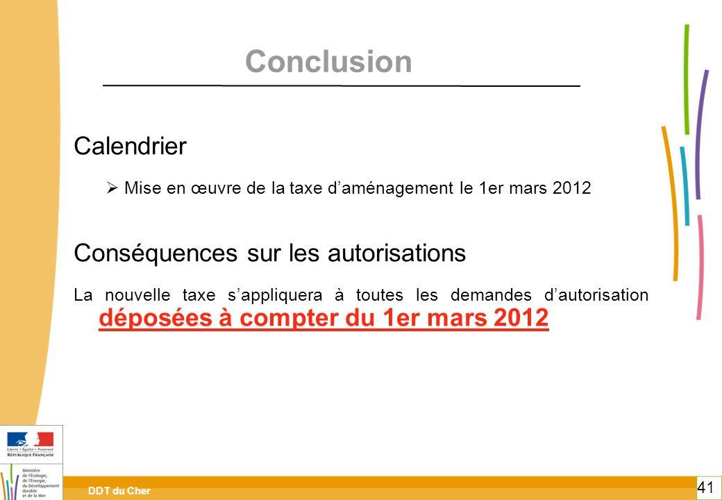 Conclusion Calendrier Conséquences sur les autorisations