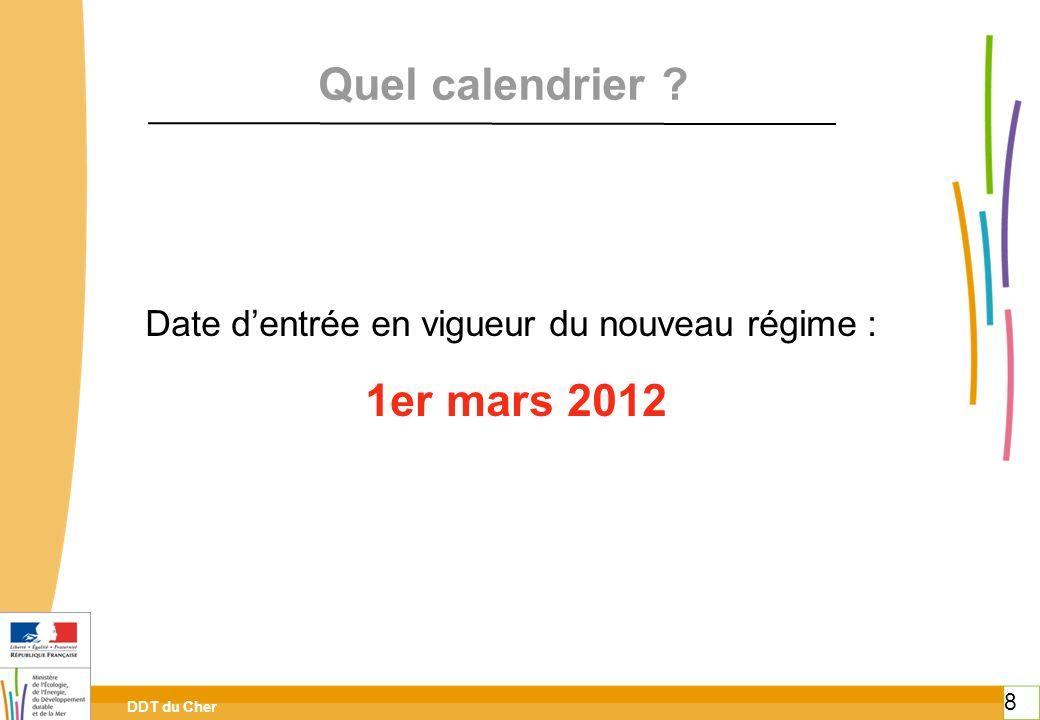 Date d'entrée en vigueur du nouveau régime :