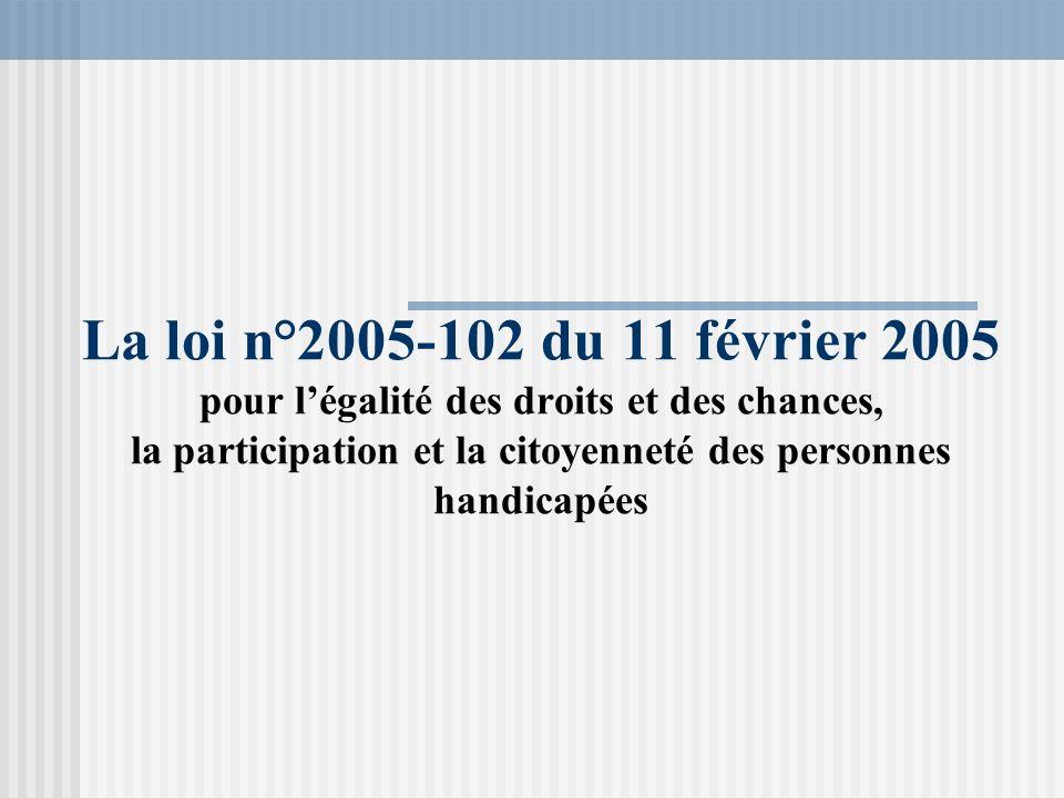 La loi n°2005-102 du 11 février 2005 pour l'égalité des droits et des chances, la participation et la citoyenneté des personnes handicapées