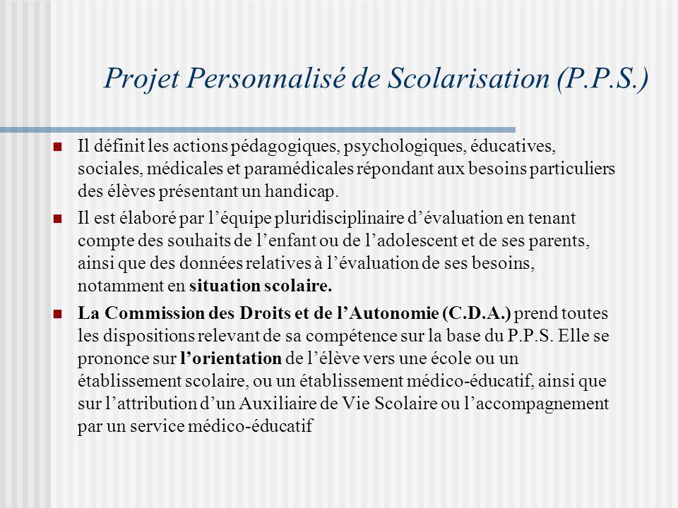 Projet Personnalisé de Scolarisation (P.P.S.)