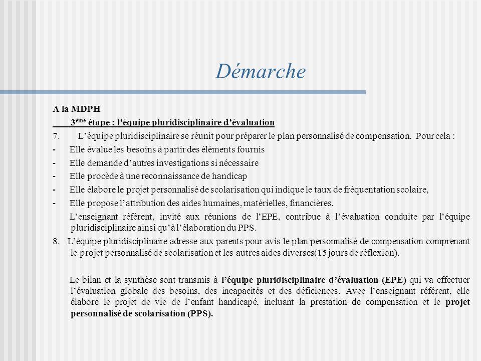 Démarche A la MDPH 3ème étape : l'équipe pluridisciplinaire d'évaluation.