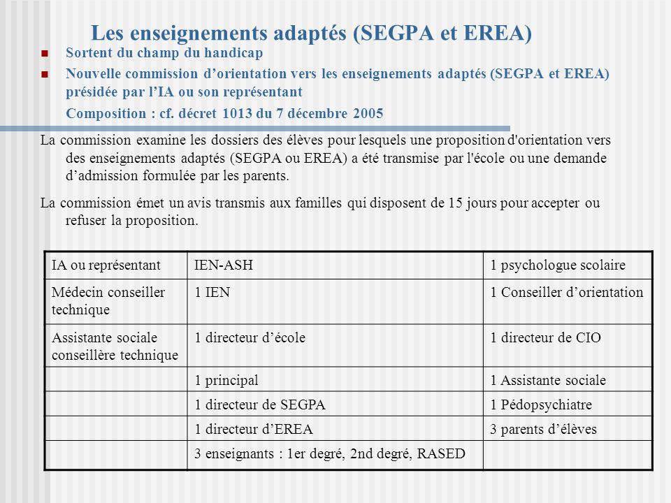 Les enseignements adaptés (SEGPA et EREA)