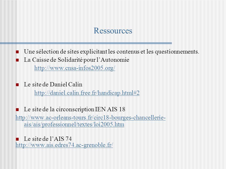 Ressources Une sélection de sites explicitant les contenus et les questionnements. La Caisse de Solidarité pour l'Autonomie.