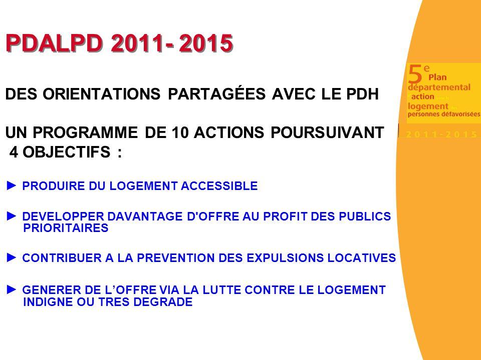 PDALPD 2011- 2015 DES ORIENTATIONS PARTAGÉES AVEC LE PDH