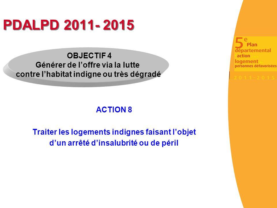 PDALPD 2011- 2015 OBJECTIF 4 Générer de l'offre via la lutte