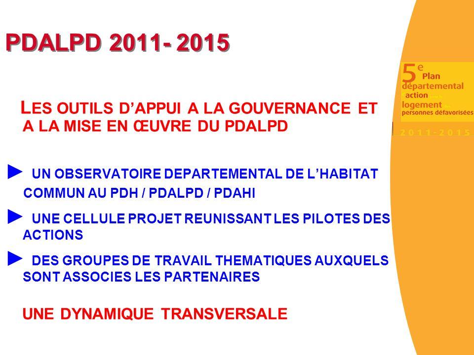 PDALPD 2011- 2015 ► UN OBSERVATOIRE DEPARTEMENTAL DE L'HABITAT