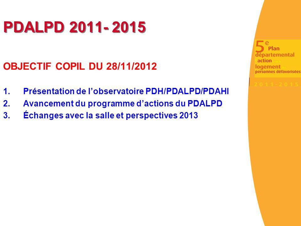 PDALPD 2011- 2015 OBJECTIF COPIL DU 28/11/2012