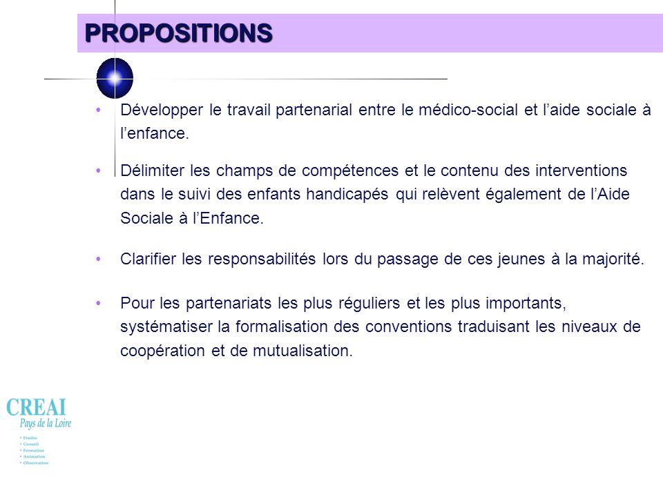 PROPOSITIONS • Développer le travail partenarial entre le médico-social et l'aide sociale à l'enfance.