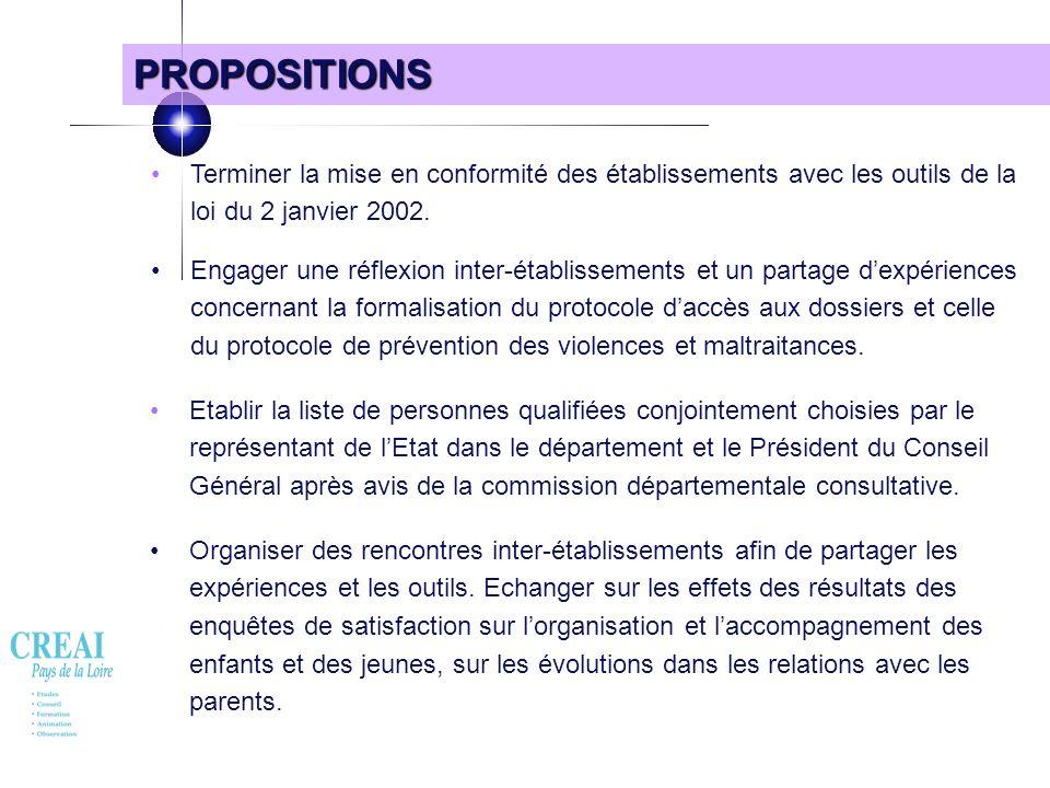 PROPOSITIONS • Terminer la mise en conformité des établissements avec les outils de la loi du 2 janvier 2002.