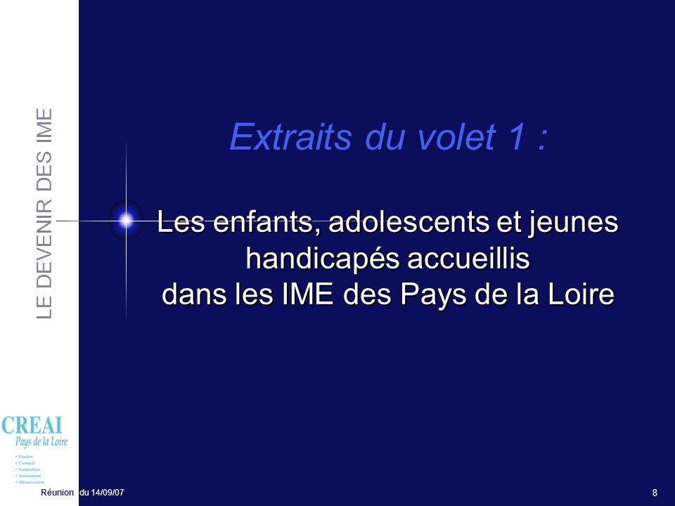 Extraits du volet 1 : Les enfants, adolescents et jeunes handicapés accueillis dans les IME des Pays de la Loire