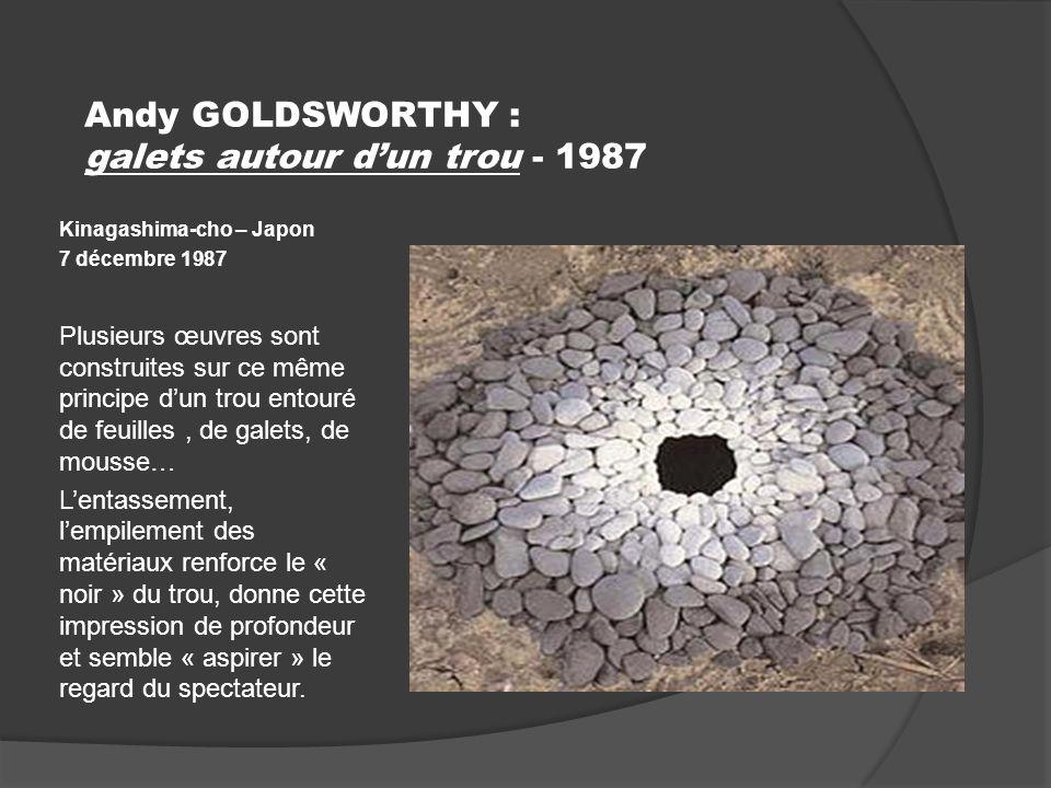 Andy GOLDSWORTHY : galets autour d'un trou - 1987