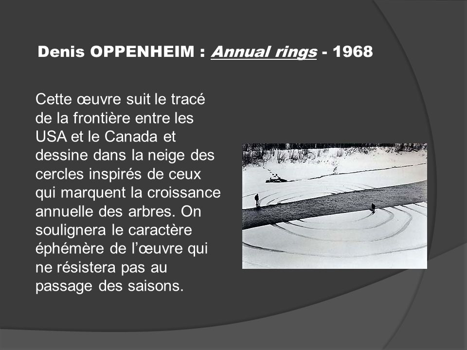 Denis OPPENHEIM : Annual rings - 1968