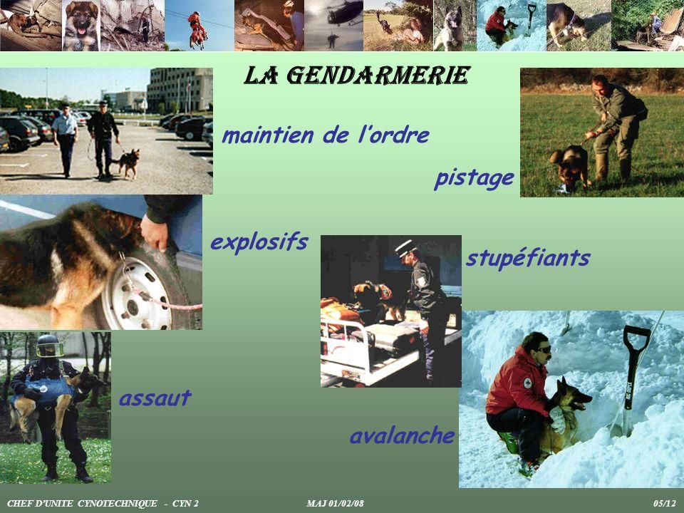 La gendarmerie maintien de l'ordre pistage explosifs stupéfiants