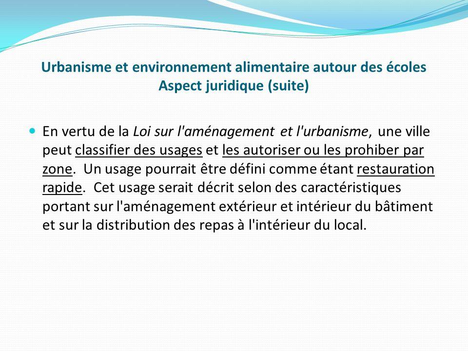 Urbanisme et environnement alimentaire autour des écoles Aspect juridique (suite)