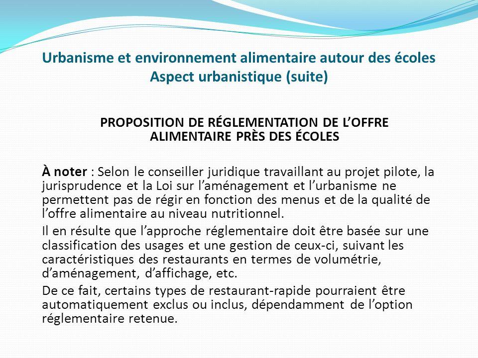 PROPOSITION DE RÉGLEMENTATION DE L'OFFRE ALIMENTAIRE PRÈS DES ÉCOLES