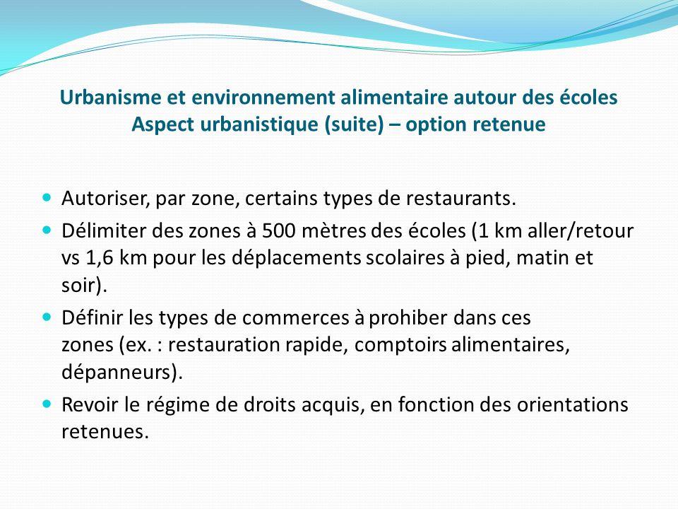 Urbanisme et environnement alimentaire autour des écoles Aspect urbanistique (suite) – option retenue