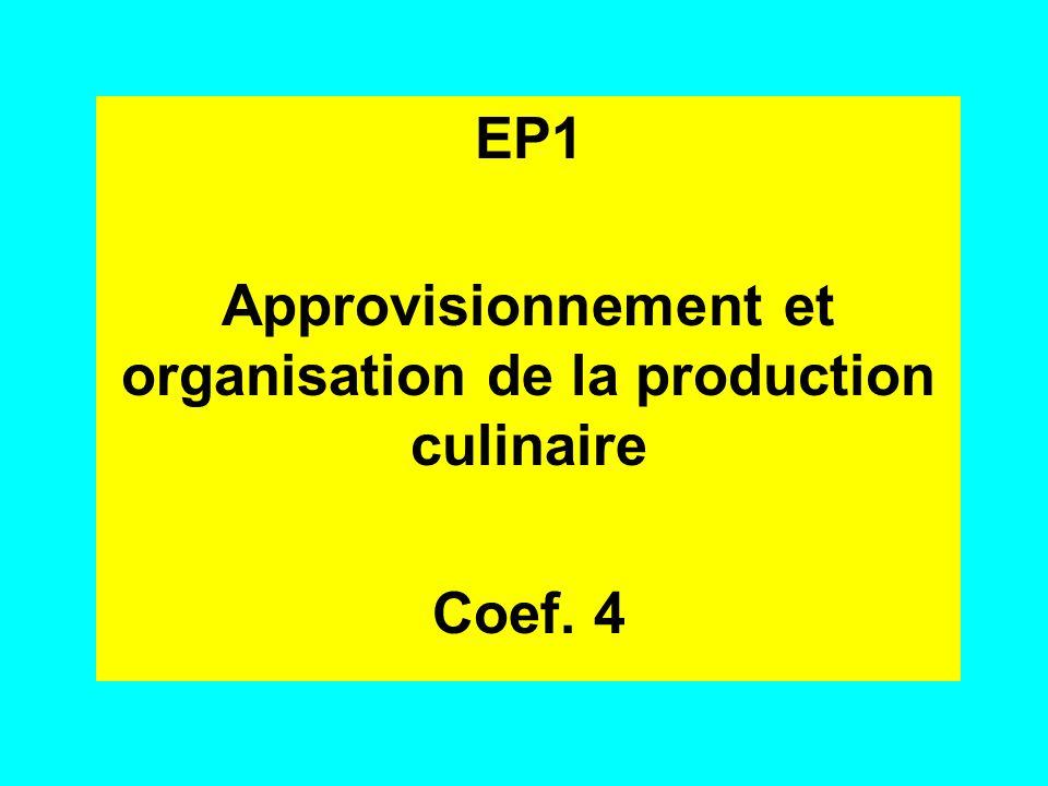 Approvisionnement et organisation de la production culinaire