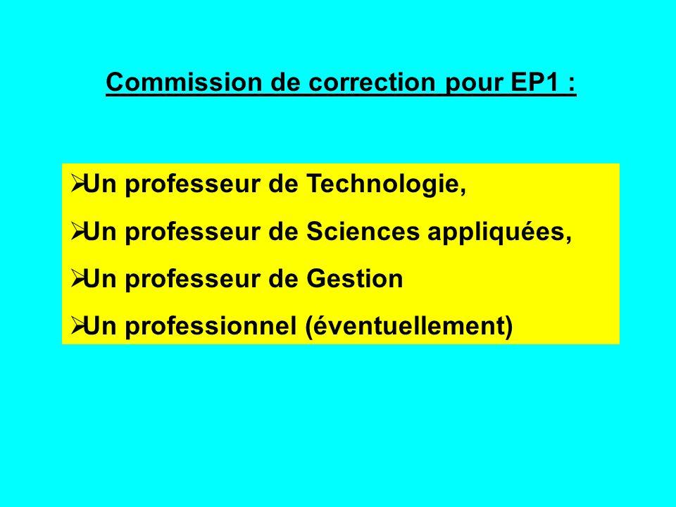 Commission de correction pour EP1 :