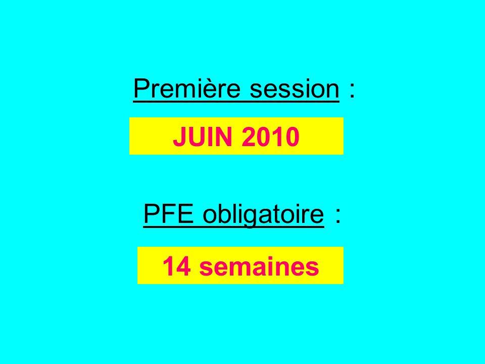 Première session : JUIN 2010 PFE obligatoire : 14 semaines