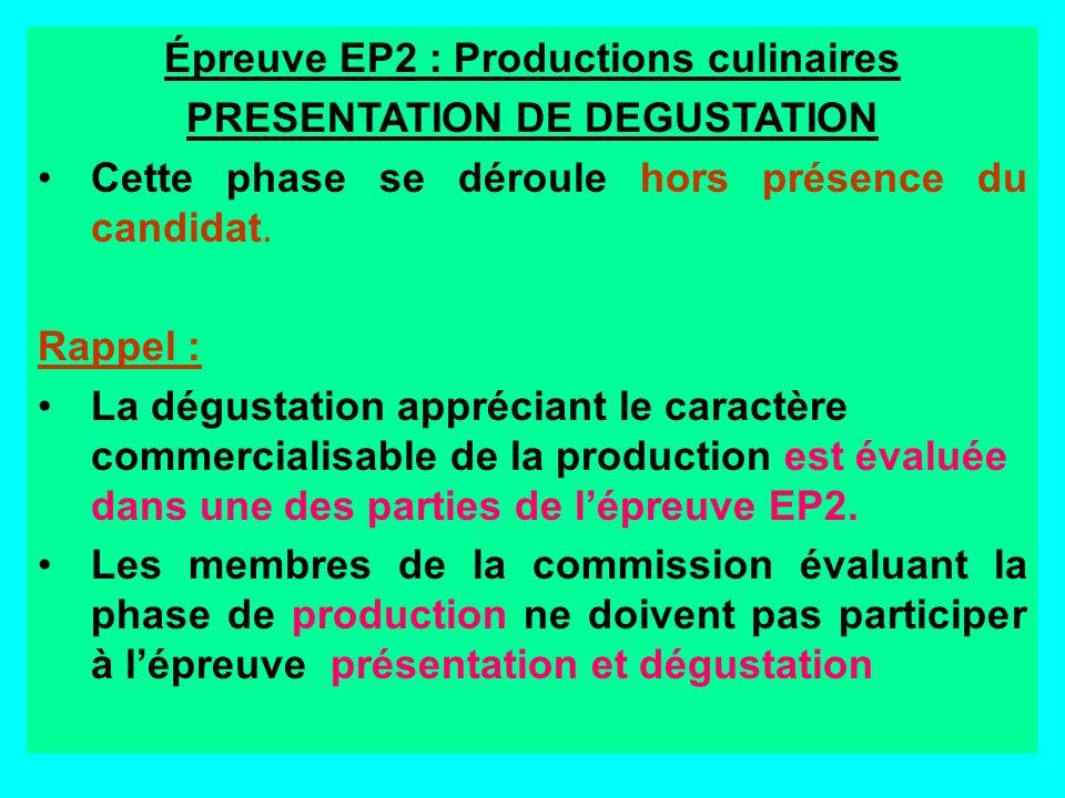 Épreuve EP2 : Productions culinaires PRESENTATION DE DEGUSTATION
