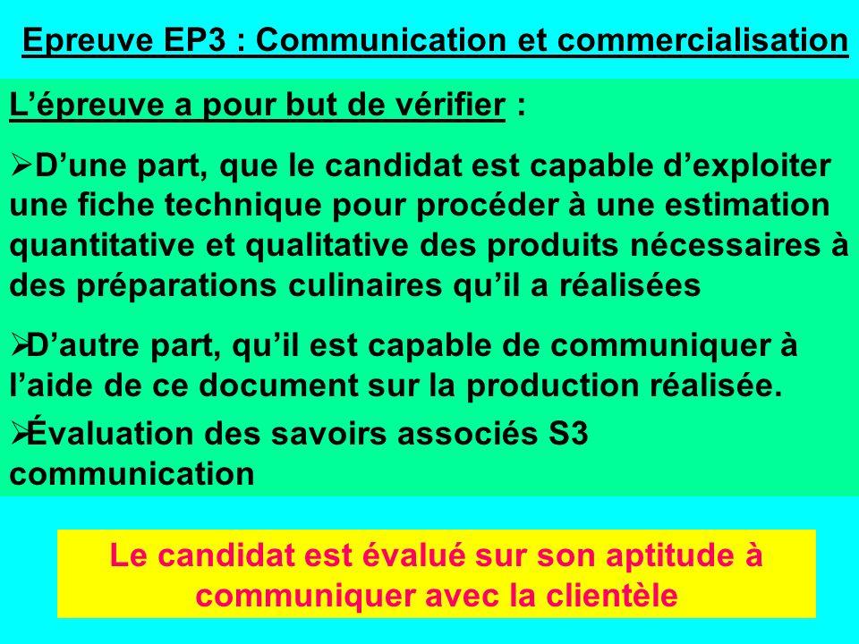 Epreuve EP3 : Communication et commercialisation