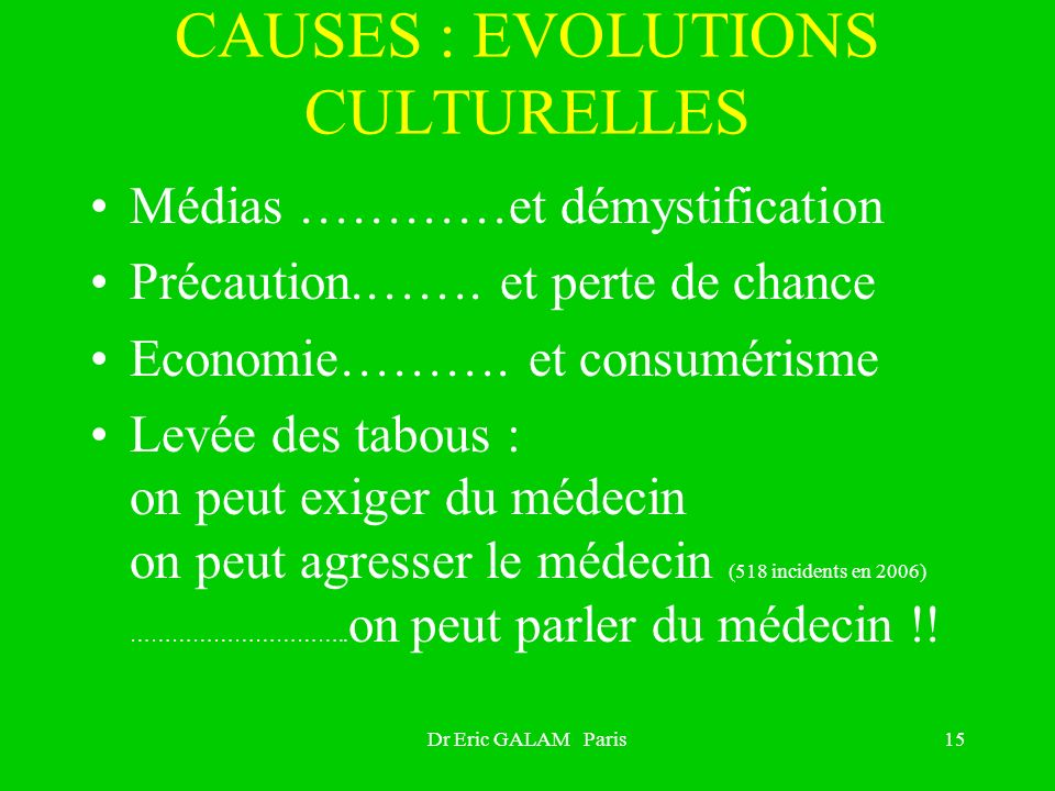 CAUSES : EVOLUTIONS CULTURELLES