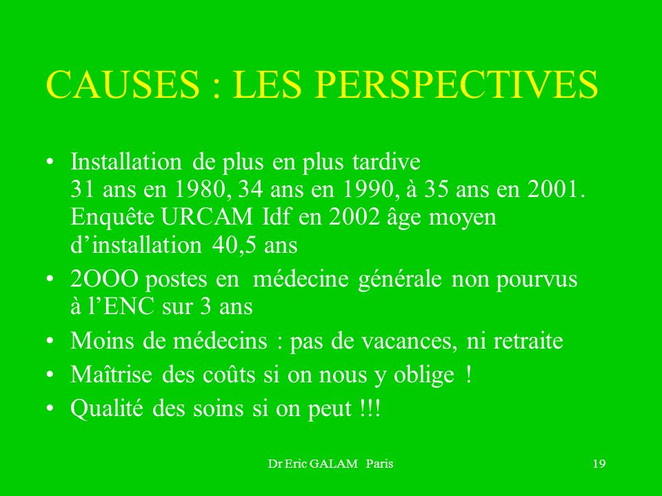 CAUSES : LES PERSPECTIVES