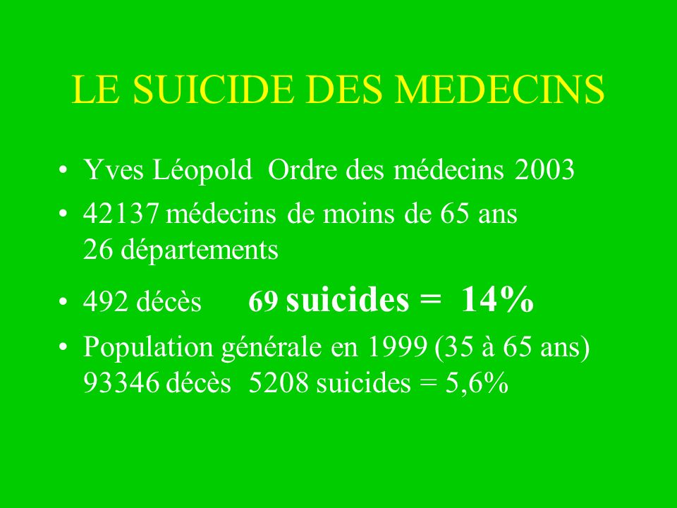 LE SUICIDE DES MEDECINS