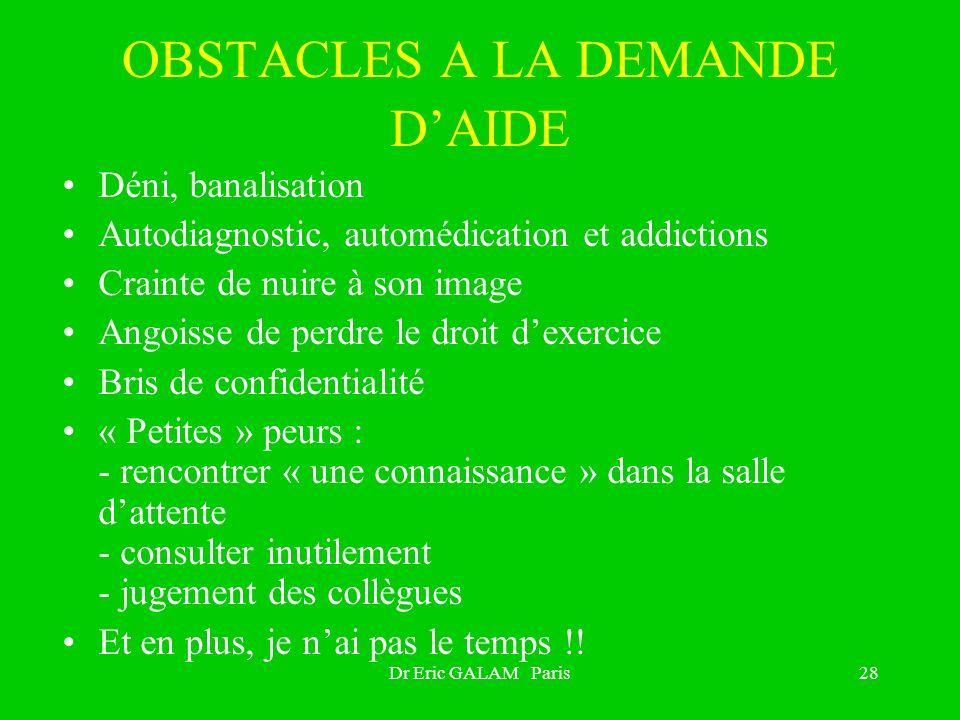 OBSTACLES A LA DEMANDE D'AIDE