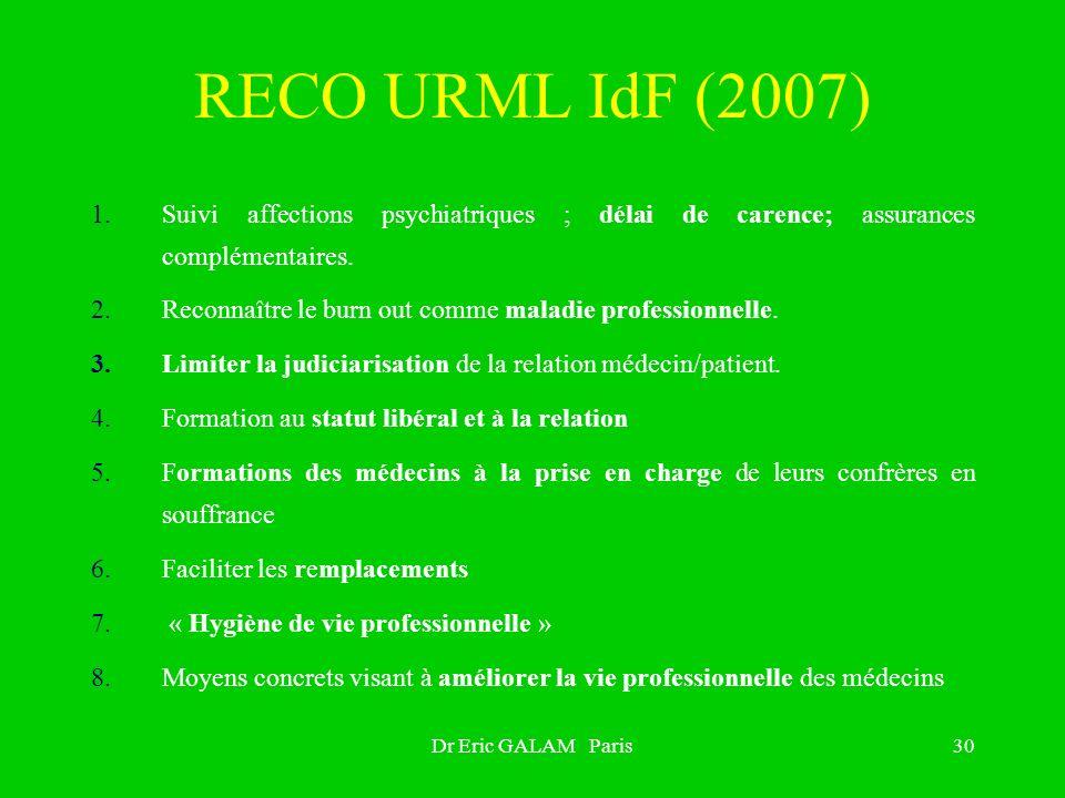 RECO URML IdF (2007) Suivi affections psychiatriques ; délai de carence; assurances complémentaires.