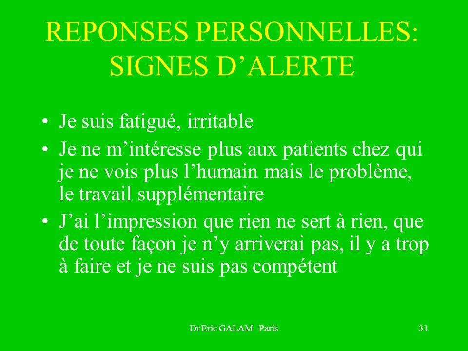 REPONSES PERSONNELLES: SIGNES D'ALERTE