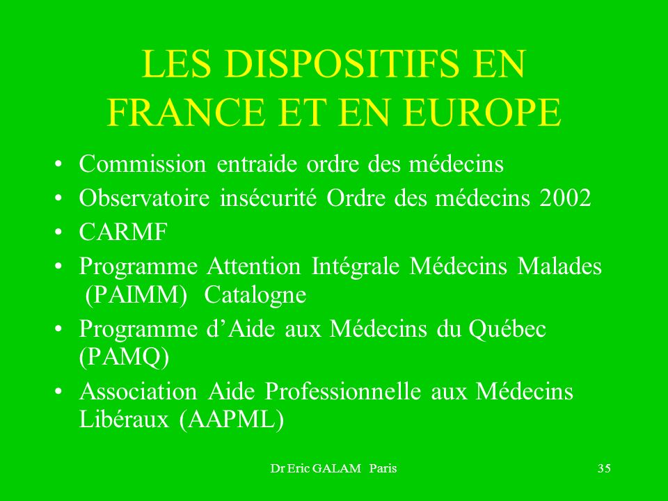 LES DISPOSITIFS EN FRANCE ET EN EUROPE