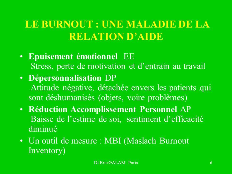 LE BURNOUT : UNE MALADIE DE LA RELATION D'AIDE