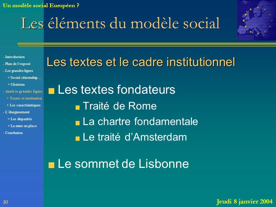 Les éléments du modèle social
